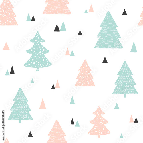 Fototapety, obrazy: Scandinavian Christmas pattern. Vector childish background with hand drawn Christmas trees