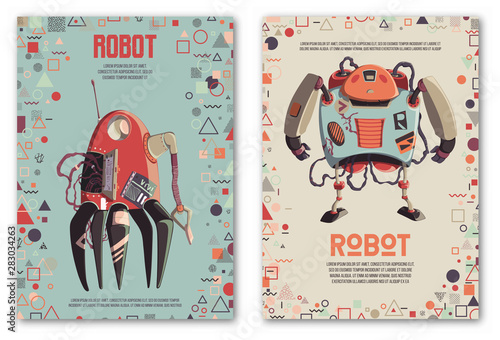 Design template with robots characters and geometric shapes. Technology, future. Artificial intelligence concept. Vector illustration - 283034263