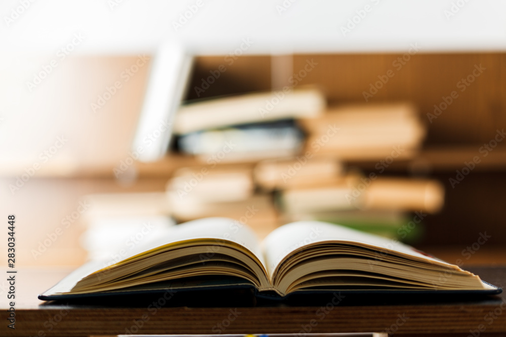 Fototapeta Education concept. Stack of books on table.
