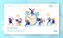 Concept Of Landing Page With Office Workers And Business People Working Overtime At Deadline. Time Management On The Road To Success. Concept For Mobile Website Development And Web Page Design.