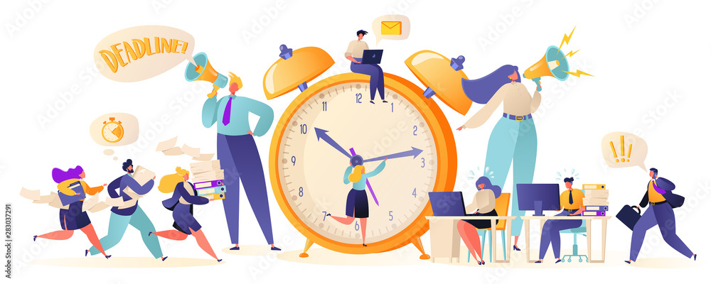 Fototapeta Time management on the road to success. Office workers and business people working overtime at Deadline. Flat сartoon characters work in high stress conditions and under hard boss pressure.