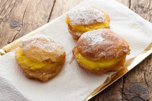 Handmade Krapfen Filled With Pastry Cream