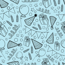 Birthday Pattern Graphic Contour Gifts Caps Seamless Wallpaper