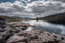 Ardvreck Castle On The Banks Of Loch Assynt In Scotland
