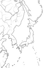World Map Of JAPANESE Archipelago: «Land Of The Rising Sun» Japan (endonym: Nippon/Nihon), And Its Islands: Honshu, Hokkaido, Kyushu, Shikoku, And Ryukyu Isles. Geographic Chart With Oceanic Line.