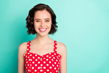 Close Up Portrait Of Fascinating Young Beautiful Wonderful Lady Posing In Front Of Came While Isolated With Teal Background