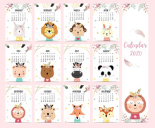 Doodle Pastel Boho Calendar Se...