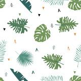 Śliczne safari tło z liśćmi. Wektor ilustracja wzór na tle, tapeta, tkanina. Zawiera sformułowanie dzikie i darmowe. Element do edycji