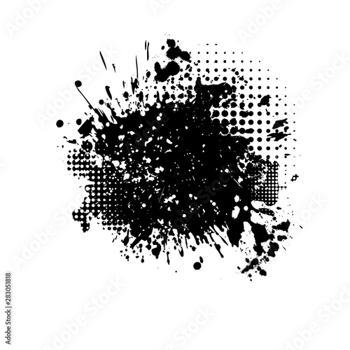 Vászonkép  Black spots of paint on a white background