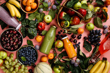 Flat-lay Of Organic Fruits And...