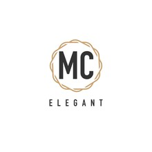 Initial Letter MC Luxurious Minimalist Elegant Geometric Rounded Hexagonal Logo For Hotel, Boutique, Jewelry, Restaurant Or Company