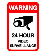 Warning 24 Hour Video Surveillance Symbol Sign, Vector Illustration, Isolate On White Background Label .EPS10