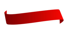 Red Satin Ribbon Isolated On White Background. Vector Illustration.
