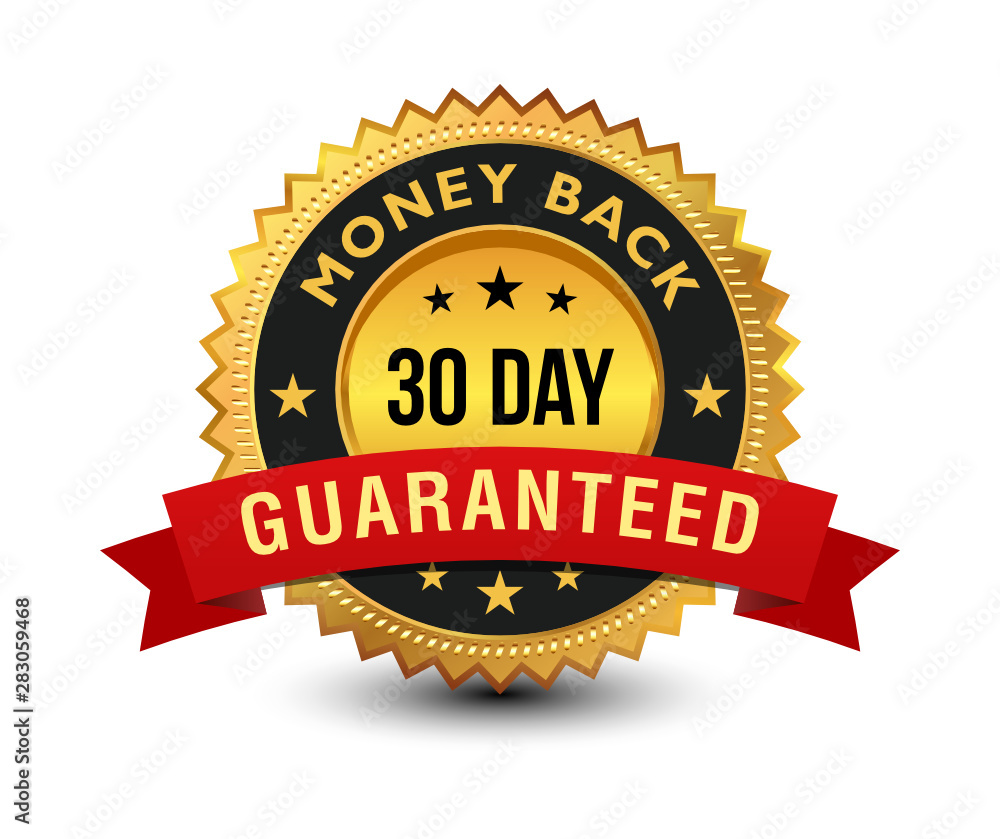 Fototapety, obrazy: Golden colored 30 day money back guaranteed badge with red ribbon on top isolated on white background. banner, sticker, tag, icon, stamp, label, sign.