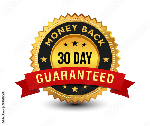 Pinturas sobre lienzo  Golden colored 30 day money back guaranteed badge with red ribbon on top isolated on white background