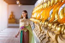 Asian Beautiful Woman Wearing Traditional Thai Culture,vintage Style,Thailand
