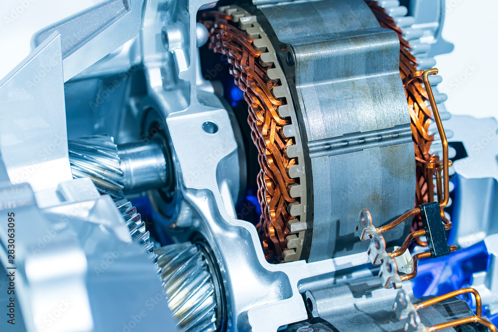Fototapety, obrazy: electric system of eco car engine Automotive part concept