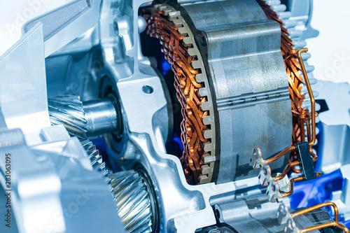 Photo  electric system of eco car engine Automotive part concept