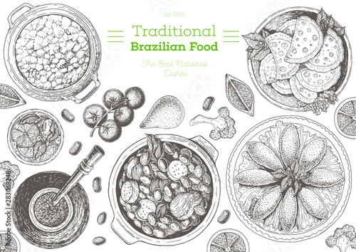 Brazilian cuisine top view frame Canvas Print