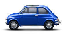 Small Retro Car Of Blue Color, Side View Isolated On A White Background.