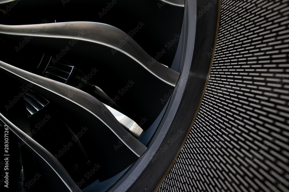 Fototapety, obrazy: Airbus A320 NEO engine. Modern aircraft. CFM Leap-1A engine. Airplane engine. Aircraft engine blades.