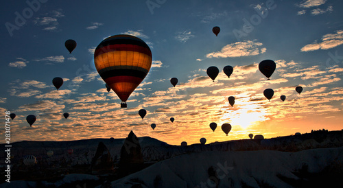 Recess Fitting Balloon Hot air balloons flying over spectacular Cappadocia.Turkey