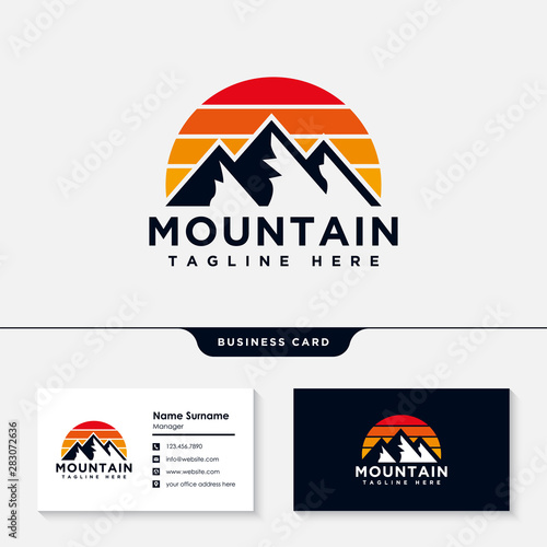 Mountain logo design with business card template vector