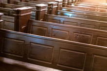 Cathedral Benches. Rows Of Pew...