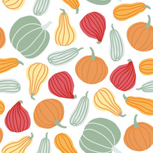 Hand Draw Pumpkin Seamless Pattern In Simple Doodle Style Vector Background Pumpkins In Pastel Color Of Different Shapes Isolated On White Background. Template For Halloween, Thanksgiving, Harvest