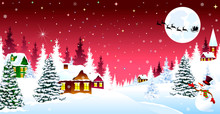 Christmas Winter Night Over A Snow-covered Village. Winter Rural Landscape. The Night Eve Christmas. Village, Snow, Forest. Shining Stars And Snowflakes In The Night Sky. Santa On A Sleigh On The Back