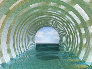 Fototapeta Optyczne powiększenie Marble Water Tunnel 3d rendering
