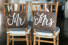 Mr And Mrs Wooden Signs On Back Of Chair, Wedding Reception Decor