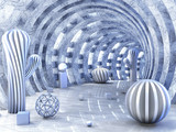 Fototapeta Perspektywa 3d - Round tunnel pierced with light with 3D balls 3d rendering
