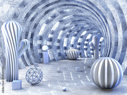 Round tunnel pierced with light with 3D balls 3d rendering