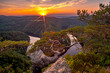 A beautiful sunset at Vyhlidka Maj (Viewpoint May). Meander of the river Vltava (Moldau) in Central Bohemia close to the Prague, Czech republic