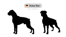 Dog Breed German Boxer. Side A...