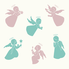 Set Of Isolated Little Angels