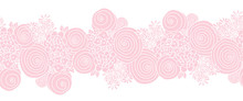 Seamless Floral Vector Border Pink. Flowers Repeating Background.