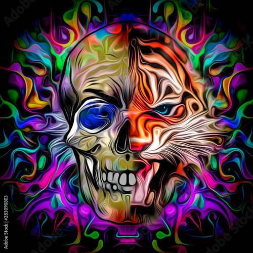 Human skull with colorful spots on dark background