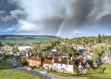 Rainbow Over Box Hill And Dorking In The Surrey Hill- Southern England