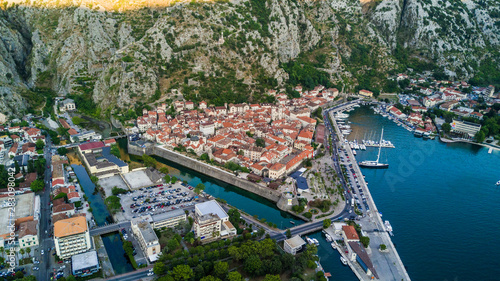 Fototapeta Aerial view of Kotor or Cattarois a coastal town in Montenegro located in a secluded part of the Gulf of Kotor. obraz na płótnie