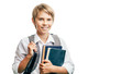 canvas print picture - Blond happy schoolboy carrying books and schoolbag