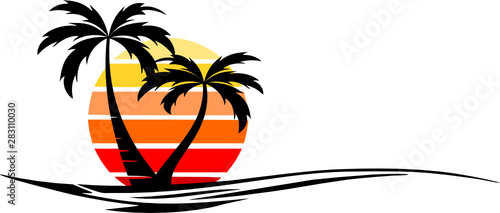 Obraz Beach Palm Skyline Vector Silhouette - fototapety do salonu