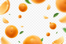Falling Juicy Oranges With Gre...