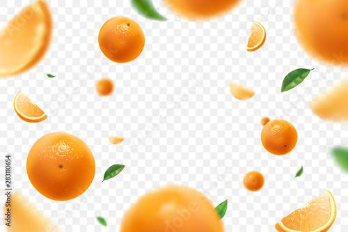 Falling juicy oranges with green leaves isolated on transparent background Fototapete