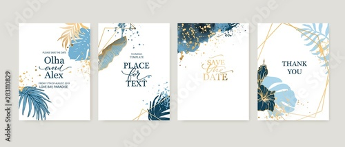 Set of elegant brochure, card, background, cover. Blue watercolor texture. Geometric frame. Palm, exotic leaves. Save the date, invitation, birthday card design.