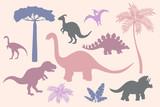 Fototapeta Dinusie - Set of colorful dinosaur silhouettes on pink background
