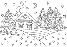 House In The Winter Forest - Coloring Page
