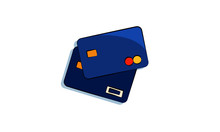Credit Cards Vector Illustration. Flat Illustration Of Two Blue Credit Cards With MasterCard And Visa Logos. Money, Savings, Credits Concept.