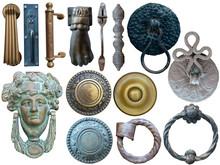 Collection Of Vintage And Medieval Door Elements Isolated On White. Door Handles, Door Knock Bells.